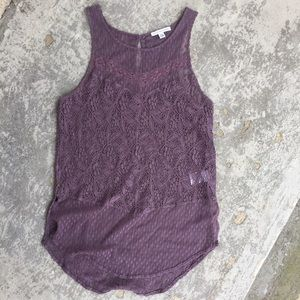 American Eagle Muted Purple Lace Tank Top
